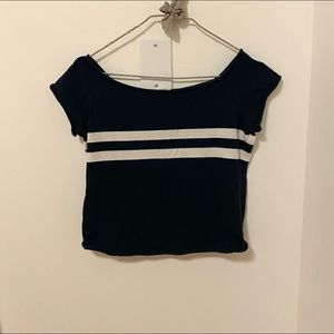 Brandy Melville blue and white t shirt